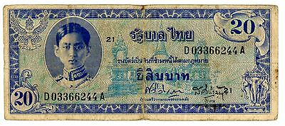 "Thailand ... P-66a ... 20 Baht ... ND(1946) ... *F* ... Sign ""65"" Block ""21"""