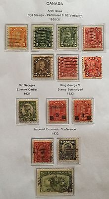 CANADA 1930/32 SET ARCH ISSUE PERF 8 1/2 VERTICALLY+3c. + 6 V. PHOTO USED RR SPL