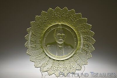 SCARCE c. 1885 GRANT AKA PEACE MOTTO Gillinder & Sons CANARY Commemorative Plate