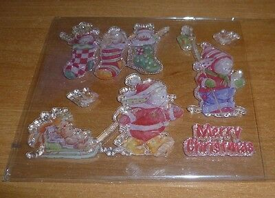 Set of Christmas Clear Rubber Stamps - BN