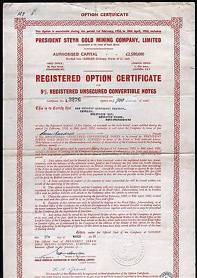 1951 Union of South Africa: President Steyn Gold Mining Company, Limited