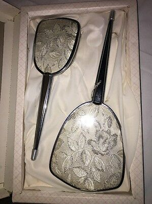 Vintage Leaves Vanity Set of 2- Hand Mirror and Brush Regent Of London England