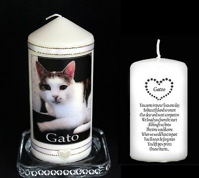 Pet Memorial Candle Personalised With Photo & Words Cat Dog Rabbit Any Animal #8