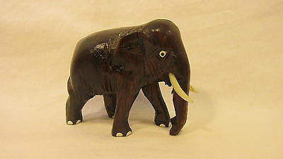 OLDER HAND CARVED WOOD ELEPHANT w/ PLASTIC TUSKS