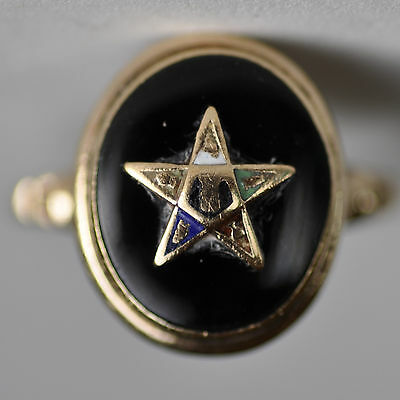 Eastern Star Black Onyx Ring 14K Yellow Gold 2.1g Fraternal Order Estate Jewelry