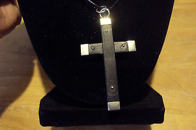 Sterling Silver * Leather Cord Necklace & Wooden Cross Pendant * EBONY France *
