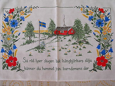 vintage hand printed Swedish wall hanging The home from childhood