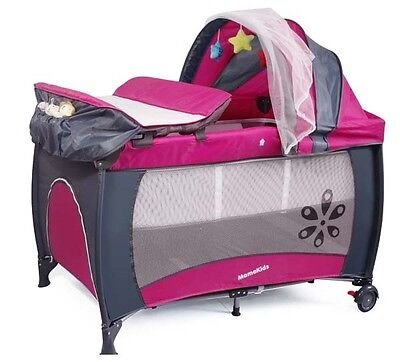 New Mamakiddies Rose Travel Baby Cot Crib Playpen with Mattress, Bag