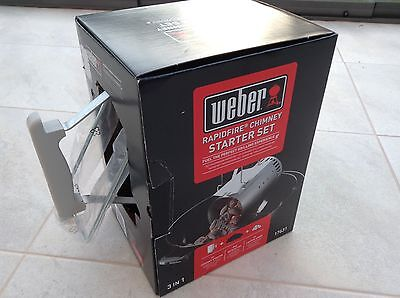 Weber Rapidfire Chimney Starter Set 17631 Charcoal BBQ Outdoor Cooking NEW