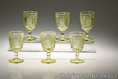 c. 1884 No. 260 FINEST AND PANEL by Campbell, Jones CANARY Wine Stem 6 Piece Set