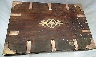Antique Wooden Box/chests Rose Wood With Brass Work Vintage Jewelry Wooden Box
