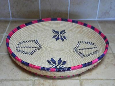 "Beautiful Hand Woven Basket (Tray or Bowl) 1980 Maker Unknown Size 15"" X 2 1/2"""