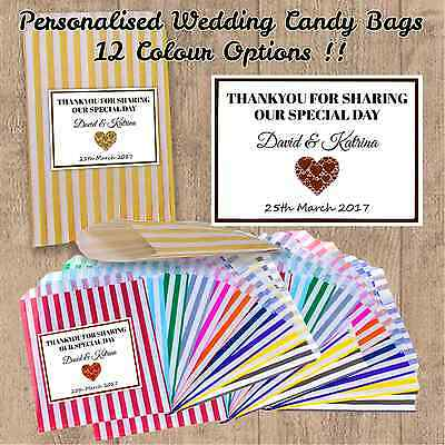 Personalised Wedding Favour Sweet Birthday Candy Cart Bags Striped Any Name's