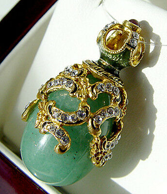 Sale !  Streling Silver And 24 K Gold Genuine Jade Russian Easter Egg Pendant
