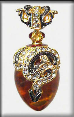 Stunning Russian Sterling Silver 24K Gold Genuine Amber Easter Egg Pendant