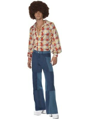 70s Style Schlaghose Denim Look Bad Taste Party Flower Power