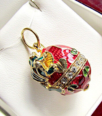 One Of A Kind Handmade Solid Sterling Silver 925 & 24K Gold Egg Pendant W/ Frog