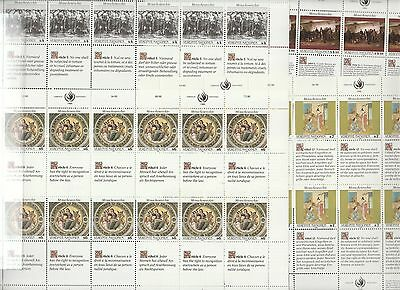 4 Sheets United Nations Stamps, Vienna, Unmounted Mint. 1989 / 1990.Human Rights