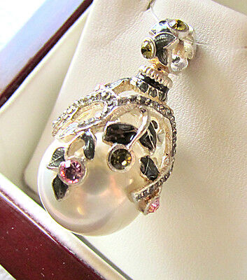 SALE ! LOVELY RUSSIAN ENAMEL EGG PENDANT STERLING SILVER 925 with WHITE PEARL