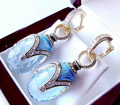 SALE ! GORGEOUS MADE OF STERLING SILVER 925  EARRINGS with BLUE TOPAZ and ENAMEL