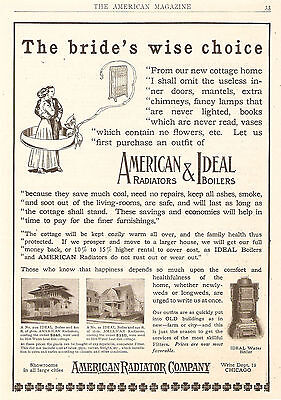 1909 American Radiator & Ideal Boiler Ad The Bride's Wise Choice