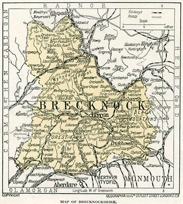 1923 Wales map: old Brecknockshire Brecon ready-mounted antique print SUPERB
