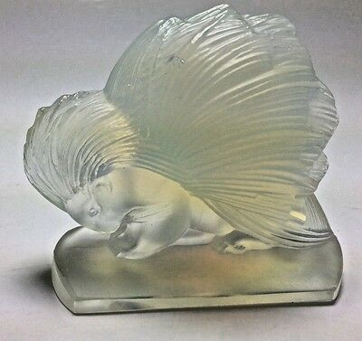 VINTAGE Sabino French Opalescent Art Glass Porcupine Figurine Paperweight Signed