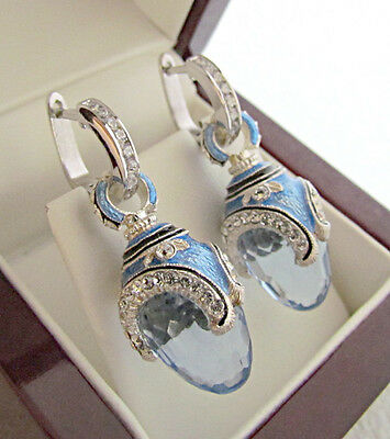 OUTSTANDING RUSSIAN BLUE TOPAZ MADE OF STERLING SILVER 925 EARRINGS with ENAMEL