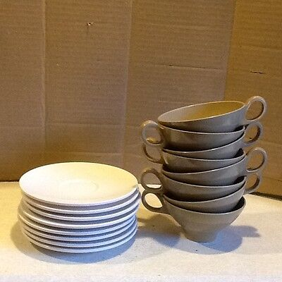 Vintage Boonton Ware Brown Mugs Cups/Saucers 3206-8/Camping