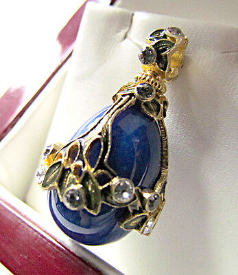 SALE ! GORGEOUS STERLING SILVER925 and 24K GOLD RUSSIAN PENDANT w/ GENUINE LAPIS