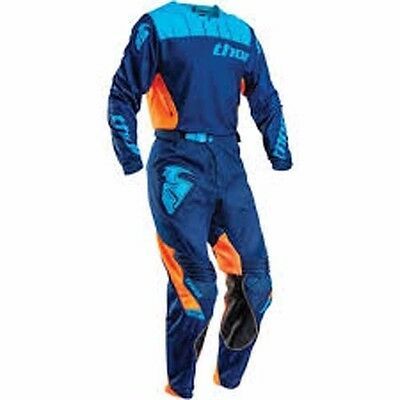 Thor Mens Core Contro Dirt Bike Jersey (XL) & Pants (34)  Combo Navy & Orange