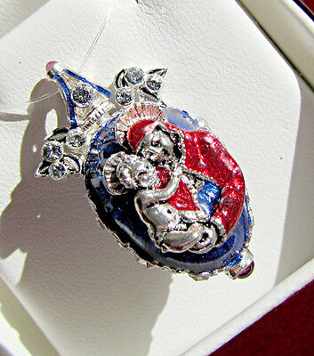 Superb Russian Handmade Pendant Enamled Solid Sterling Silver 925 Mother Of God