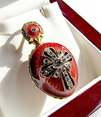 SUPERB HANDMADE PENDANT ENAMLED SOLID STERLING SILVER 925 & 24K GOLD with CROSS