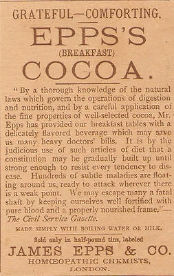 Old 1888 James Epps Breakfast Cocoa Ad London England