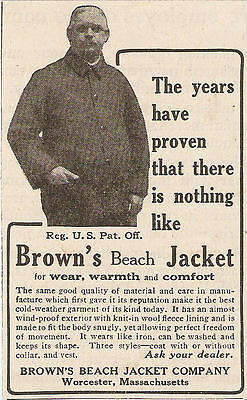 1924 Brown's Beach Jacket Ad Worcester Ma Massachusetts