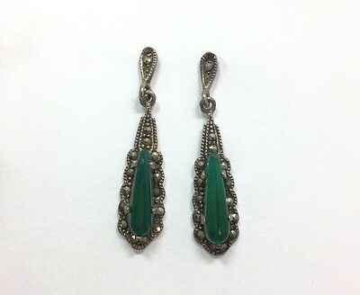 Vintage Art Nouveau Green Gemstone Marcasite Dangle Earrings Sterling Silver ...