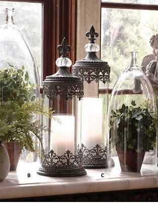 St/2 Lge Antiqued Gray French Country or Tuscan Candleholders w/FleurDeLis Tops