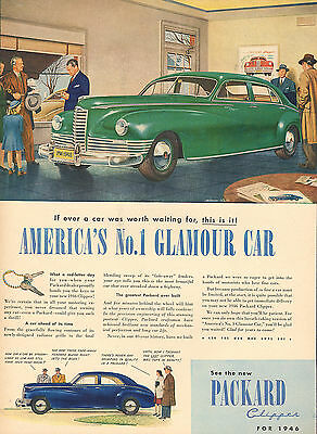Large Color 1946 Packard Clipper Glamour Car Advertisement Ad B14C