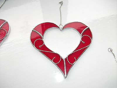 HANDMADE Stained Glass Heart with wire Suncatcher