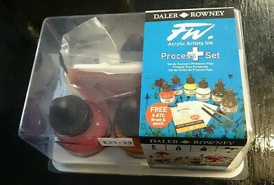 Daler Rowney FW Process + Artist Acrylic Ink Set of 6 Colours & Langton, Brush