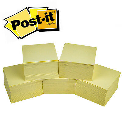 "5 Cubes of 3M Post-It Yellow 3x3"" 2100 Super Sticky Note Pads Sheets Office"