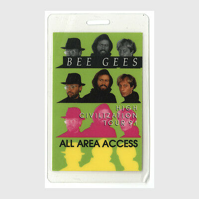 Bee Gees authentic 1991 concert tour Laminated Backstage Pass