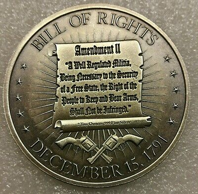2 Oz .999 antiqued silver 2nd Amendment George Washington art full amendment