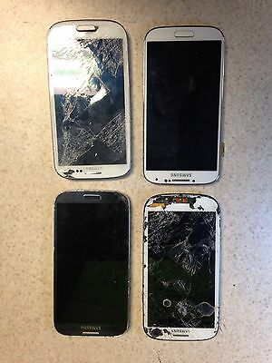 Lot of 3 Samsung Galaxy Phones - S3 and S4 - For Parts (NOT WORKING)
