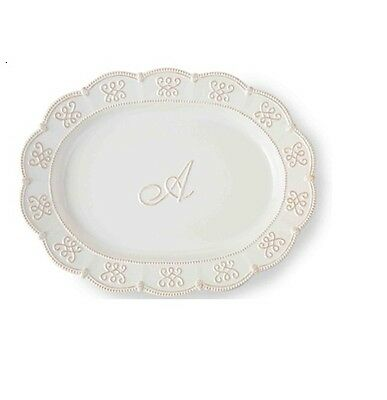 Mud Pie Initial A PLATTER Signature White Ceramic Knot & Beau Collection 4071042