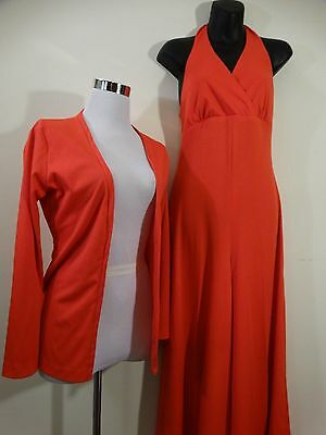 Women's Vintage 70's Polyester Red Halter Jump Suit Bell bottom Pant with Jacket