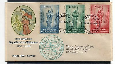 PHILIPPINES = 1946 Independence of Philippines FDC. Cacheted. Addressed.