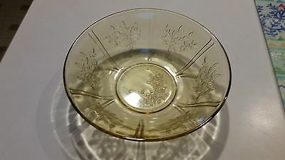 Vintage Federal Yellow Amber Depression Glass Sharon Cabbage Rose Serving Bowl