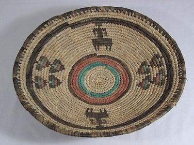Colorful HANDWOVEN COILED BASKET Bowl Tray NORTHWESTERN STYLE Decor African
