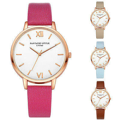 Women Fashion Concise Dial Faux Leather Strap Analog Quartz Wrist Watch Sightly